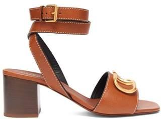 Valentino V Logo Block Heel Leather Sandals - Womens - Tan