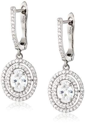 Nina Laati Oval Cubic Zirconia with Micro Pave Double Halo Drop Earrings