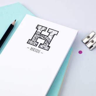 XOXO Personalised Grown Up Colouring In Initial Notepad
