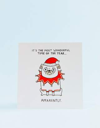 OHH DEER Ohh Deer Most Wonderful Time of the Year Pug Holidays Card