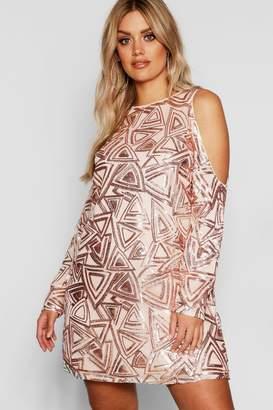 boohoo Plus Sequin Cold Shoulder Shift Dress