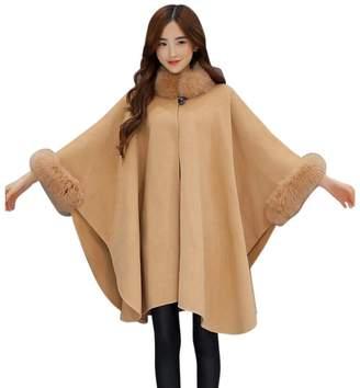 XILALU Fashion Women Jacket Casual Woollen Outwear Fur Collar Parka Cardigan (2XL, )