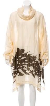 eskandar Long Sleeve Silk-Linen Dress