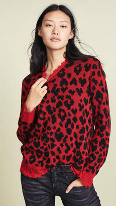 R 13 Red Leopard Cashmere Sweater
