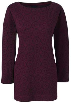 Lands' End Red Three Quarter Sleeve Print Boatneck Tunic