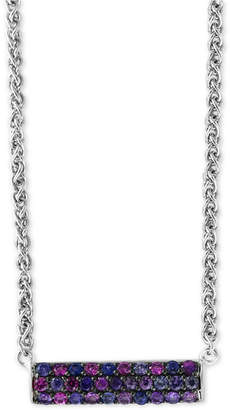 "Effy Splash by Purple Sapphire Horizontal Bar 18"" Pendant Necklace (1 ct. t.w.) in Sterling Silver"