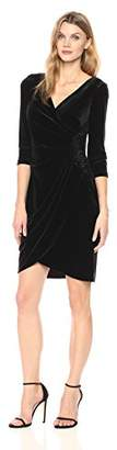 Alex Evenings Women's Velvet Cocktail Dress with Overlay Skirt and Beading at Hip