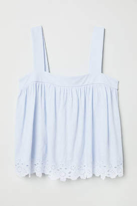 H&M Top with Eyelet Embroidery - Blue