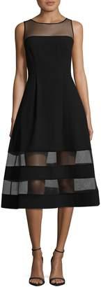 Aidan Mattox Aidan Sleeveless Illusion Top Fit-and-Flare Cocktail Dress