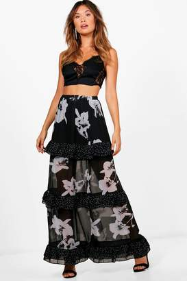 boohoo Monochrome Mix Print Ruffle Maxi Skirt