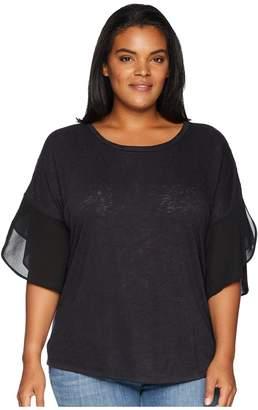 Bobeau B Collection by Plus Size Hadley Woven Sleeve Slub Top Women's Short Sleeve Pullover