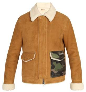 Valentino - Camouflage Pocket Shearling Coat - Mens - Camel