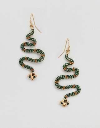 Glamorous Embellished Snake Drop Earrings (+)