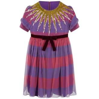 Gucci GUCCI*EXCLUSIVE* Girls Pink & Purple Striped Chiffon Dress