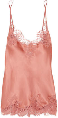 I.D. Sarrieri East Of Eden Chantilly Lace-trimmed Silk-blend Satin Camisole - Antique rose