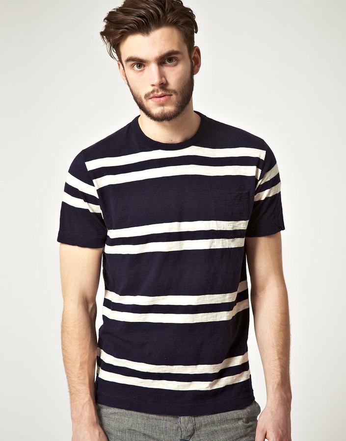 YMC Basic Stripe One Pocket Melange T-Shirt