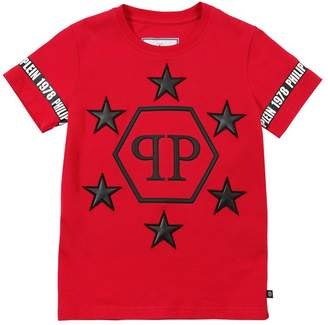 Philipp Plein Junior Jersey T-Shirt W/ Faux Leather Patches