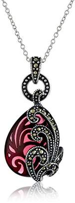 Sterling Silver Oxidized Marcasite and Garnet Colored Glass Filigree Teardrop Pendant Necklace