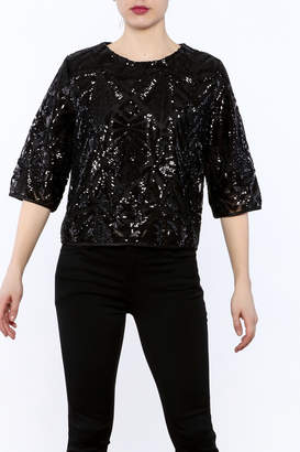 Everly Black Sequin Top $59 thestylecure.com
