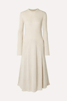 Off-White ANNA QUAN - Astrid Ribbed Cotton Midi Dress