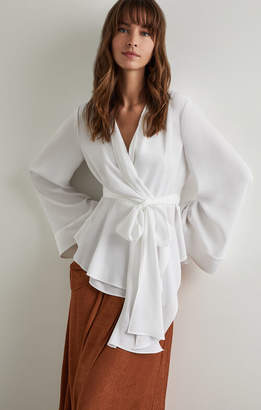 BCBGMAXAZRIA Shawl Collar Wrap Top