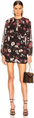 Nicholas Floral Cascade Ruched Dress in Black | FWRD