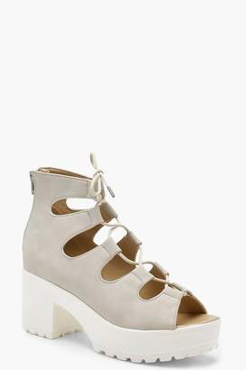 boohoo Lace Up Cleated Sandals