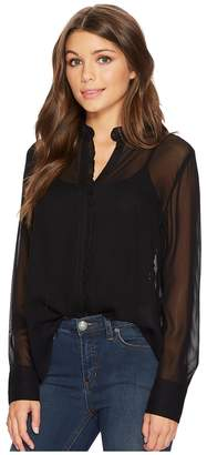 Lucky Brand Ruffle Neck Top Women's Long Sleeve Button Up