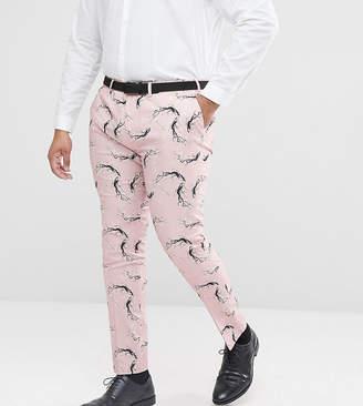 Asos Plus Super Skinny Smart Pants With Blossom Print