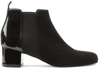 Daniel Mimi Black Suede Patent Back Ankle Boot