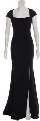 Rebecca Vallance Slit-Accented Square Neck Gown Black Slit-Accented Square Neck Gown