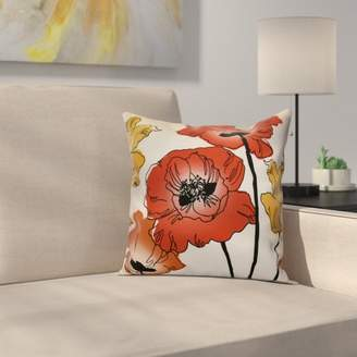East Urban Home Poppies Floral Outdoor Throw Pillow