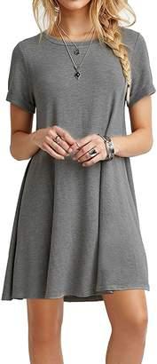Soficy Women Short Sleeve Round Neck Summer Casual Flared Mini Dress Gray XXL