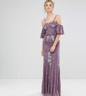 Maya Tall All Over Embellished Corset Top Maxi Dress With Cold Shoulder