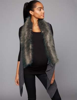 A Pea in the Pod Luxe Essentials Denim Faux Fur Trim Maternity Vest