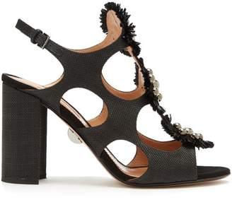 Samuele Failli - Liya Stud Embellished Raffia Sandals - Womens - Black