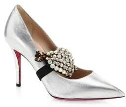 Gucci Metallic Leather Pumps With Crystal Heart