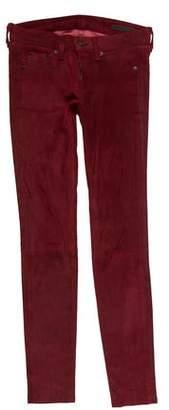 Rag & Bone Leather Low-Rise Skinny Pants