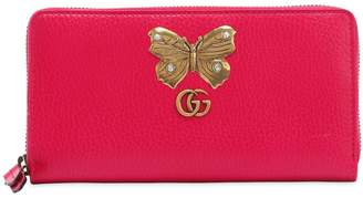 Gucci Butterfly Zip Around Leather Wallet