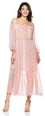 Peace Love Maxi Women's High Side Slit Printed Long Dress
