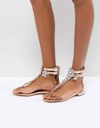 Public Desire Kammie Rose Gold Embellished Toe Post Sandals