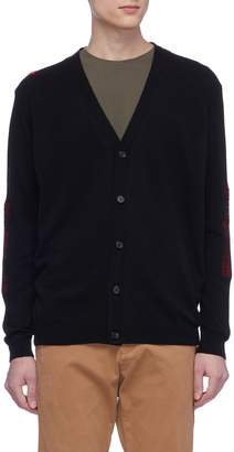 Blend of America The Editor Brushed check plaid panel wool cardigan
