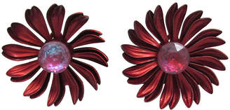 One Kings Lane Vintage Glass & Red Enamel Flower Earrings - Thanks for the Memories