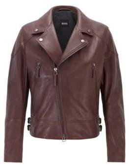 BOSS Short-length biker jacket in nappa leather