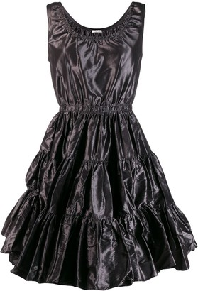 Miu Miu ruched silk flared dress