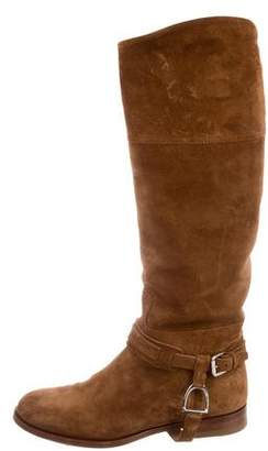 Ralph Lauren Suede Mid-Calf Riding Boots