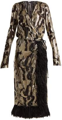 Ostrich feather-trimmed silk-blend wrap dress