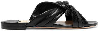Jimmy Choo Leila Knotted Leather Slides - Black