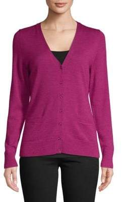 Lord & Taylor Basic Merino Wool V-Neck Cardigan