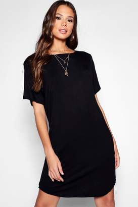 boohoo Tall Curved Hem T-Shirt Dress